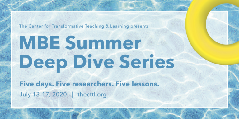 Graphic announcing the MBE Summer Deep Dive Series