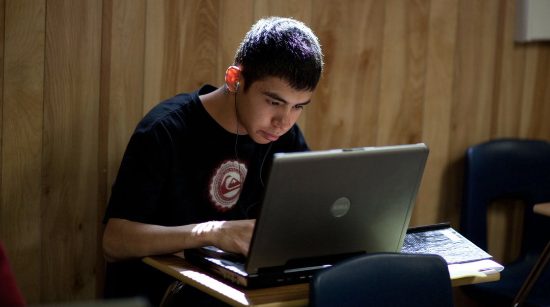 Student works at a computer